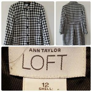 Ann Taylor Loft Wool Blend Black & White Coat